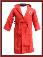 Kids Ferrari Hooded Bathrobe - Red