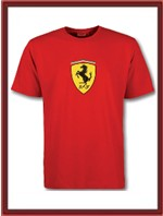 Ferrari T-Shirt with large Ferrari shield - Red