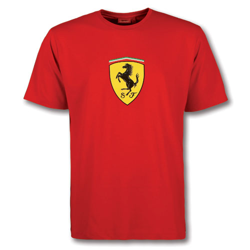 Ferrari T Shirt With Large Ferrari Shield Red Fp9119