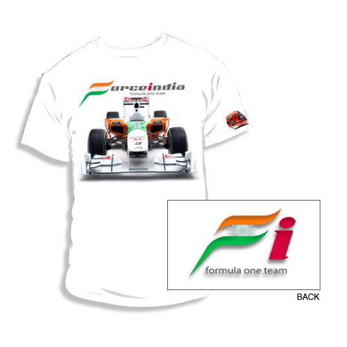 White Force India F1 Car T-Shirt - Detailed View