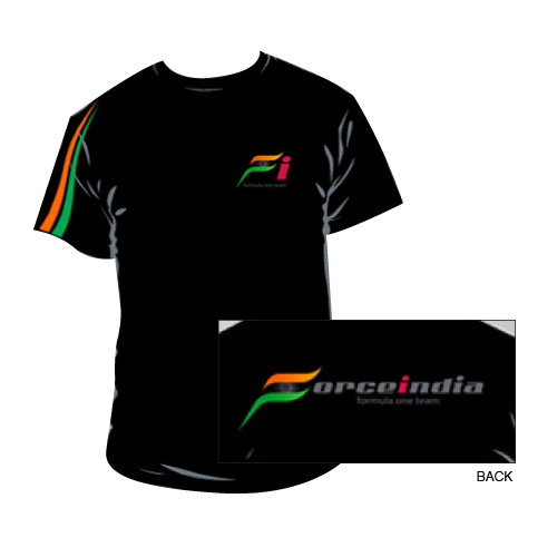 Black Force India F1 Team T-Shirt - Detailed View