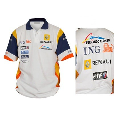 RN8211 Fernando Alonso ING Renault F1 Team Sponsor Polo Shirt - Detailed View