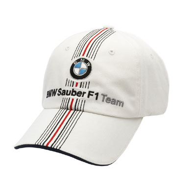 SU8512 BMW Sauber F1 White Team Hat - Detailed View